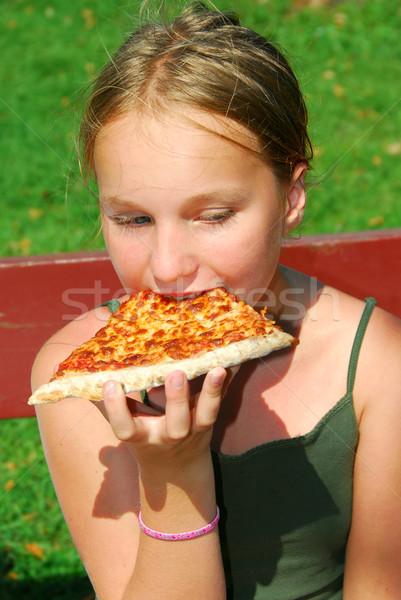 Girl pizza Stock photo © elenaphoto