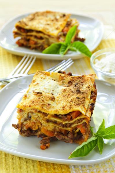Lastre lasagna due fresche ristorante Foto d'archivio © elenaphoto
