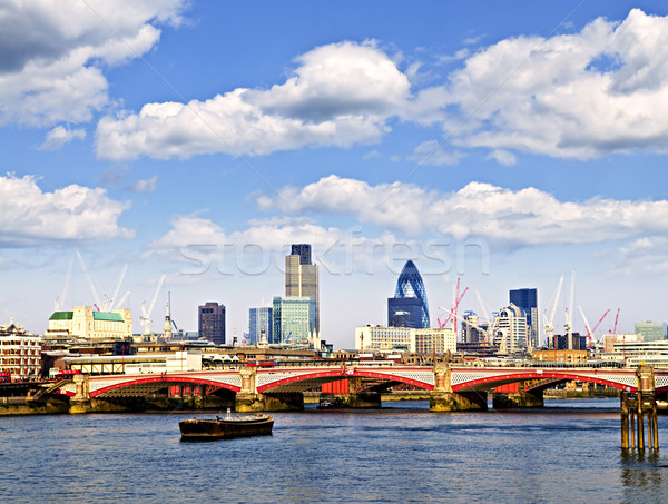 Blackfriars Bridge with London skyline Stock photo © elenaphoto