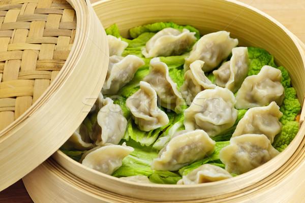 Bambou steamer cuit laisse chinois Photo stock © elenaphoto