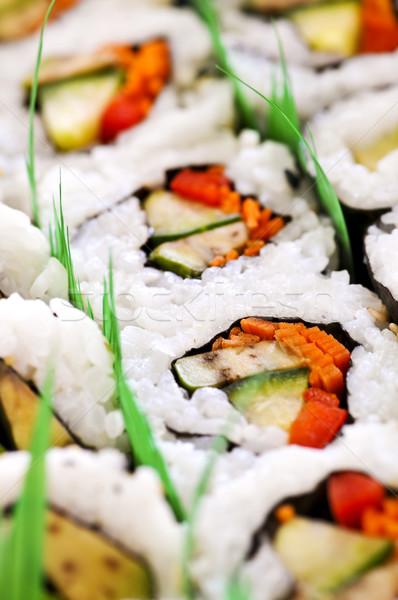 Sushi tepsi gıda Asya Stok fotoğraf © elenaphoto