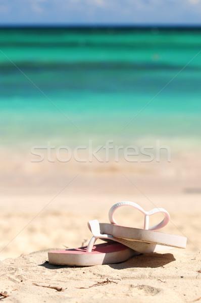 Flipflops on a sandy beach Stock photo © elenaphoto