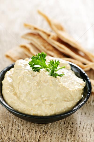 Hummus with pita bread Stock photo © elenaphoto