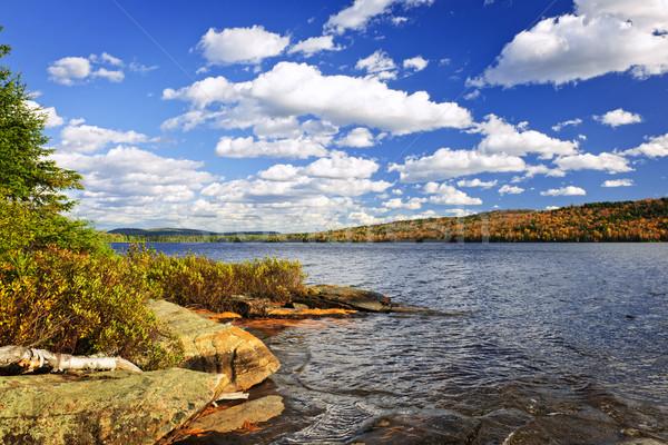 Outono lago costa dois Foto stock © elenaphoto
