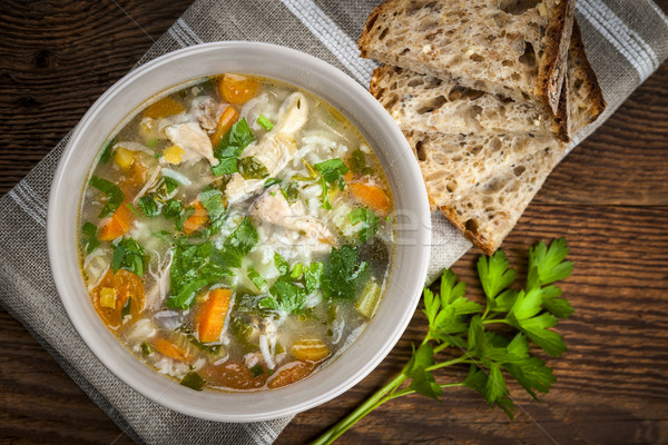Chicken soup with rice and vegetables Stock photo © elenaphoto