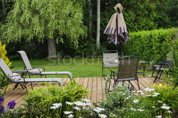 Patio houten dek home outdoor Stockfoto © elenaphoto