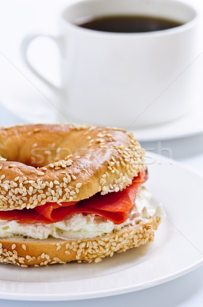 Smoked salmon bagel and coffee Stock photo © elenaphoto