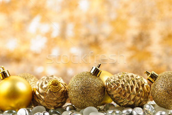 Stok fotoğraf: Noel · altın · süsler · çam · arka · plan · top