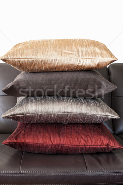 Cushions on leather sofa Stock photo © elenaphoto