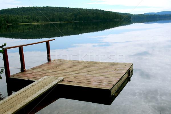 Lac quai vieux bois bateau belle Photo stock © elenaphoto