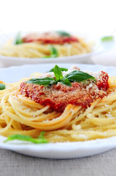 Foto d'archivio: Pasta · salsa · di · pomodoro · basilico · cena · mangiare · pomodoro
