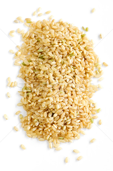Foto stock: Corto · marrón · arroz · aislado