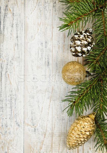 Christmas background with ornaments on branch Stock photo © elenaphoto