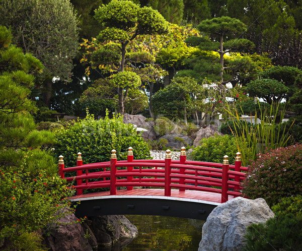 Red bridge in Japanese garden Stock photo © elenaphoto