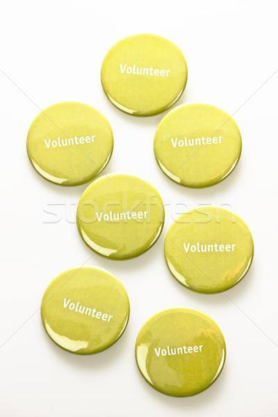 Muchos voluntario botones verde blanco Foto stock © elenaphoto