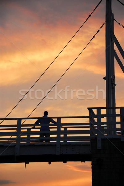 Man watching sunset Stock photo © elenaphoto