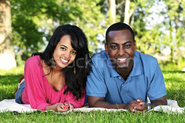 Heureux couple parc jeunes romantique Photo stock © elenaphoto