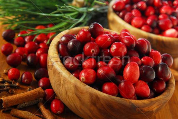 áfonya tálak friss piros fából készült fűszer Stock fotó © elenaphoto