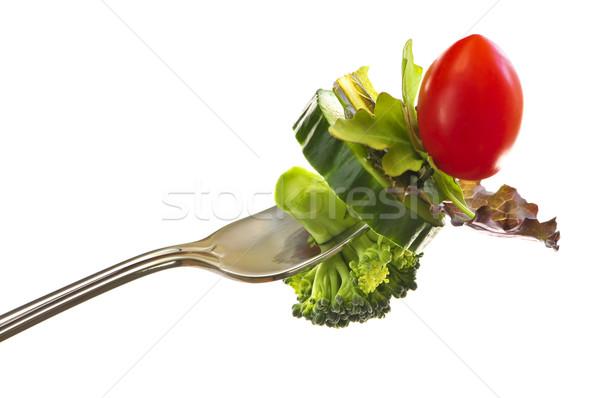 Verse groenten vork geïsoleerd witte gezondheid achtergrond Stockfoto © elenaphoto