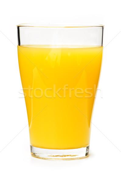Stockfoto: Sinaasappelsap · glas · geïsoleerd · witte · vruchten · oranje