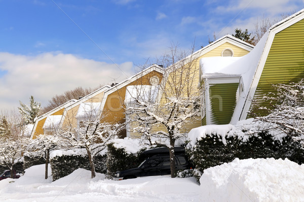 Invierno calle nieve colorido casas Toronto Foto stock © elenaphoto