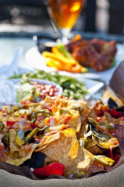 Piatto antipasti basket nachos altro ristorante Foto d'archivio © elenaphoto