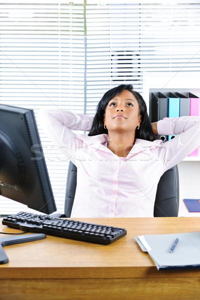 Сток-фото: черный · деловая · женщина · столе · молодые · деловой · женщины