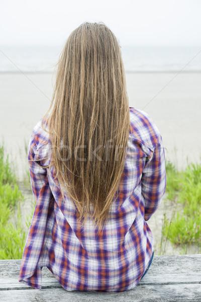 Сток-фото: длинные · волосы · вид · сзади · долго · волос