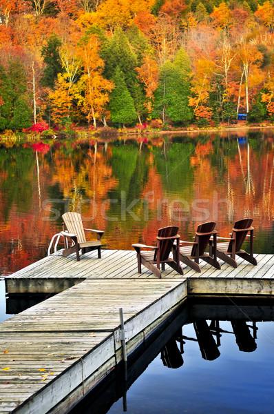 Stock photo: Wooden dock on autumn lake