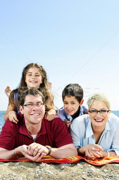 Stock photo: Happy family at beach