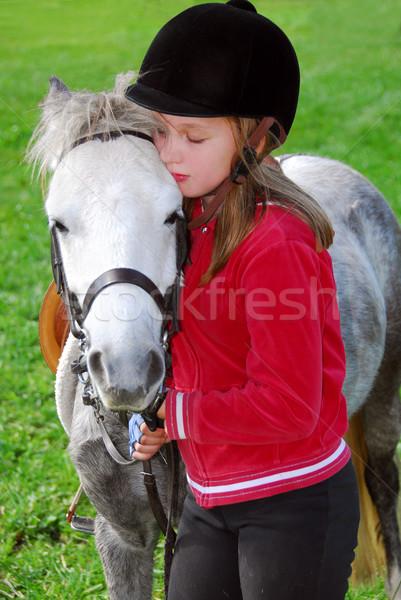 少女 ポニー 若い女の子 白 愛 ストックフォト © elenaphoto