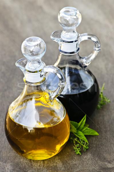 Foto stock: Óleo · vinagre · vinagre · balsâmico · vidro · garrafas · comida