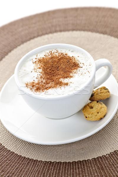 Cappuccino café tasse de café lait cookies boire Photo stock © elenaphoto