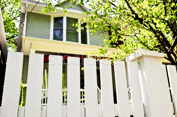 Front yard with white fence Stock photo © elenaphoto