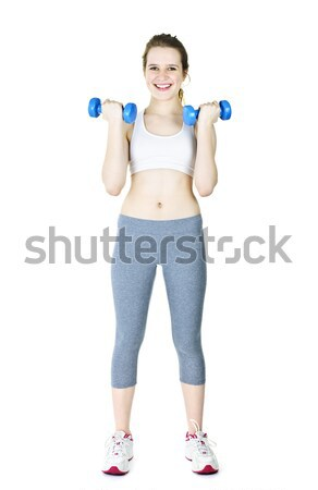 Stock photo: Happy active girl holding weights