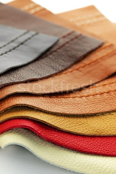 Bőr kárpit minták természetes különböző színek Stock fotó © elenaphoto