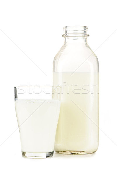 Bottle and glass of white milk Stock photo © elenaphoto
