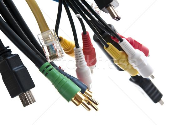 Fios computador Áudio vídeo tecnologia verde Foto stock © elenaphoto