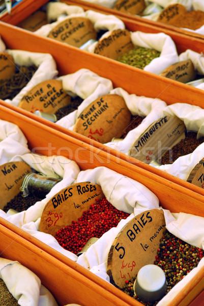 Specerijen markt verkoop frans boeren weefsel Stockfoto © elenaphoto