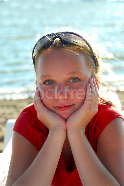 Girl beach relax Stock photo © elenaphoto