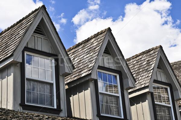 Maison détail fenêtre bois ciel bleu ciel Photo stock © elenaphoto