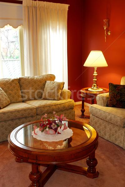 Sala de estar interior confortável mesa de café casa janela Foto stock © elenaphoto