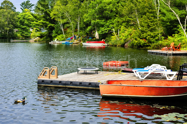 Cottage lake with diving platform and docks Stock photo © elenaphoto