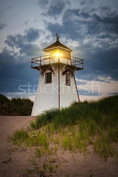 Stok fotoğraf: Akşam · karanlığı · liman · deniz · feneri · ışık · prince · edward · adası