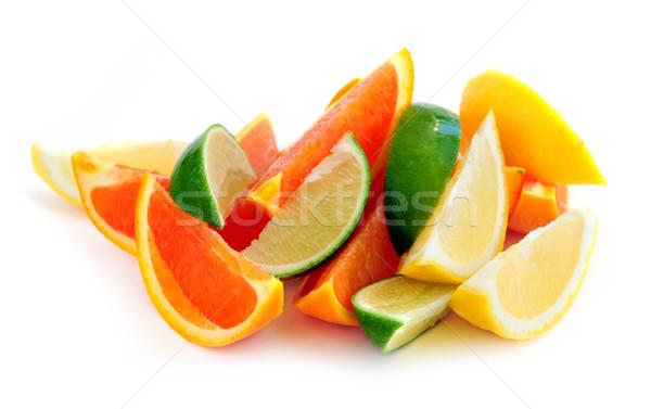 Citrus vruchten geïsoleerd witte achtergrond oranje Stockfoto © elenaphoto