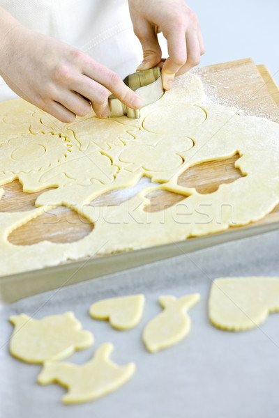 Cutting cookies from dough Stock photo © elenaphoto