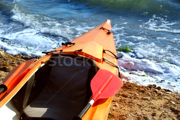 байдарках оранжевый песчаный берега реке спортивных Сток-фото © elenaphoto
