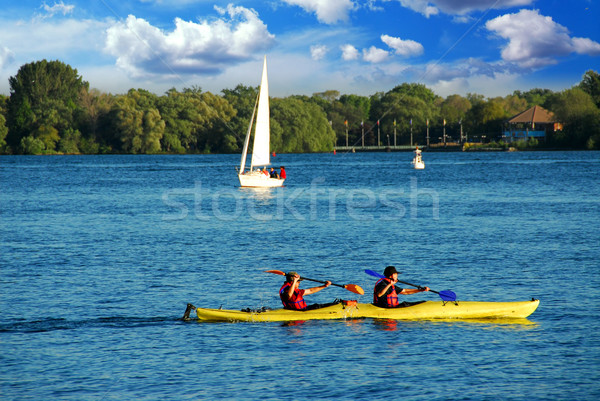 Kayaking on a lake Stock photo © elenaphoto