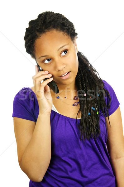 Teen girl with mobile phone Stock photo © elenaphoto