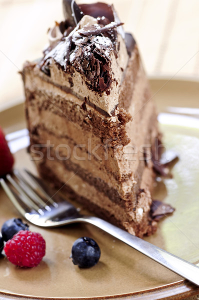 Foto stock: Rebanada · pastel · de · chocolate · mousse · de · chocolate · torta · servido · placa